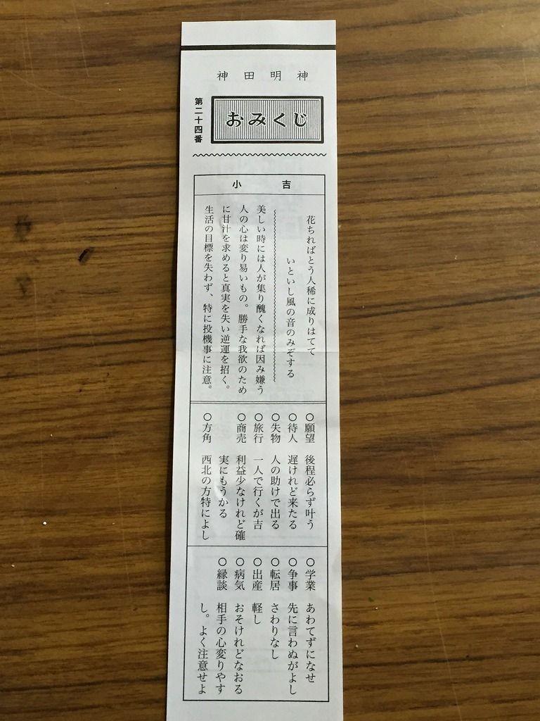 神田明神でおみくじ引いたら小吉でした。文京区の不動産、ドリームハウス株式会社