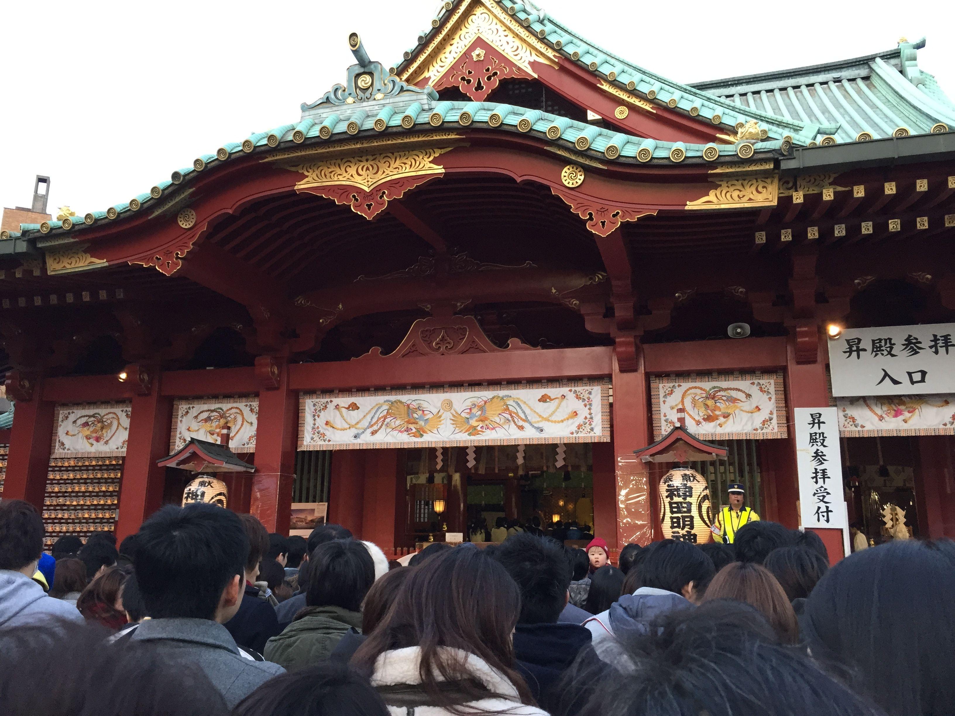 神田明神に三が日参拝に行ってきました。境内にたどり着くまで1時間かかりました。ドリームハウス文京区